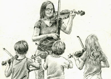 hair 63 drawing-4-violinists